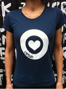 Bild von T-Shirt Gr. L, Love Vegan Damen Denim Blue, tier-im-fokus.ch