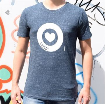 Picture of T-Shirt Gr. L, Love Vegan Herren Blue, tier-im-fokus.ch