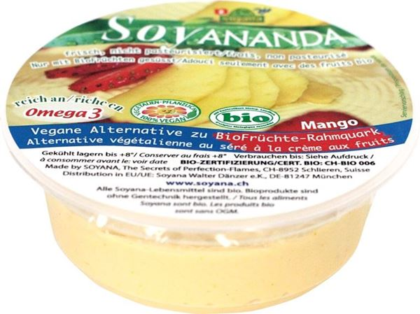 Picture of Vegane Alternative zu BioFrüchte-Rahmquark Mango BIO, Soyananda, 125g