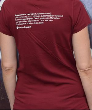 Picture of T-Shirt Gr. M, Speziesismus Damen bordeaux, tier-im-fokus