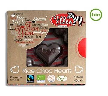 Picture of Rice Choc Hearts, Zero Zebra, 40g